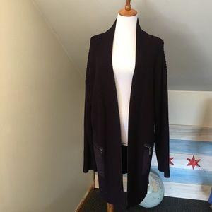 TAHARI Oversized Chunky Purple Knit Cardigan L